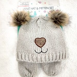 Accessory Collective Knit Tan Hat & Mitten set